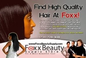 Image is of the Foxx Beauty Supply logo. This company is a past or current client of One Epiphany.