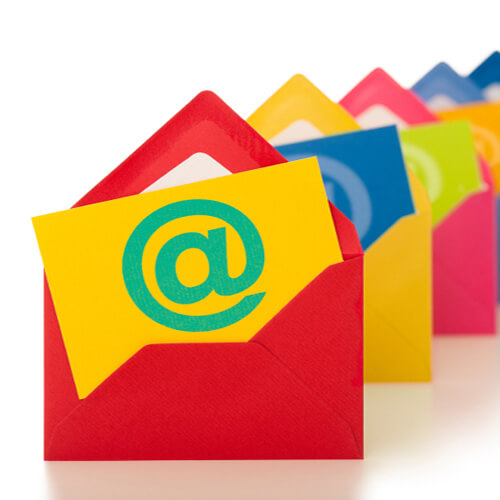 multiple colorful envelopes graphic