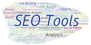 A word cloud listing various SEO Tools