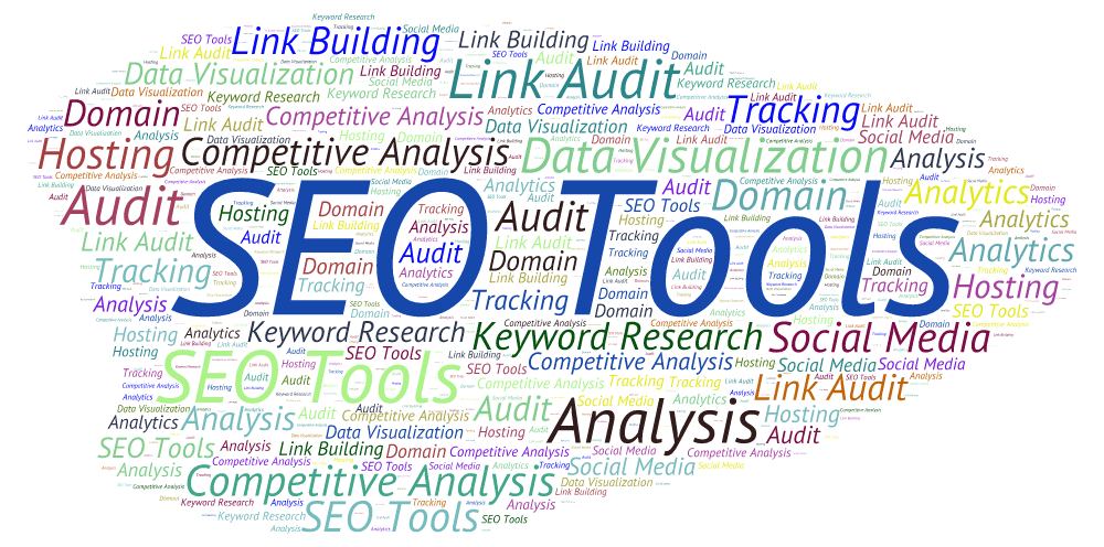A word cloud listing various SEO Tools
