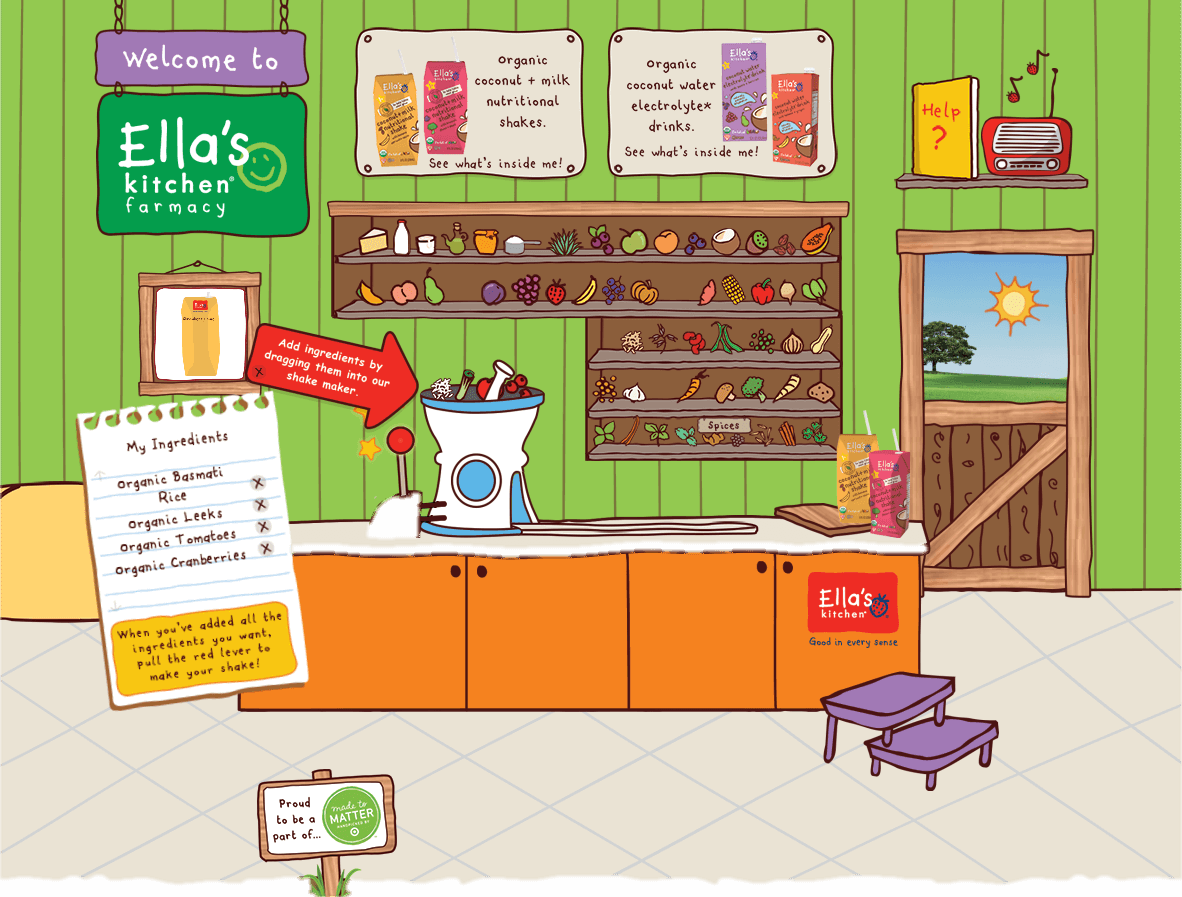A mock up or screenshot of the Ella's Kitchen Farmacy.