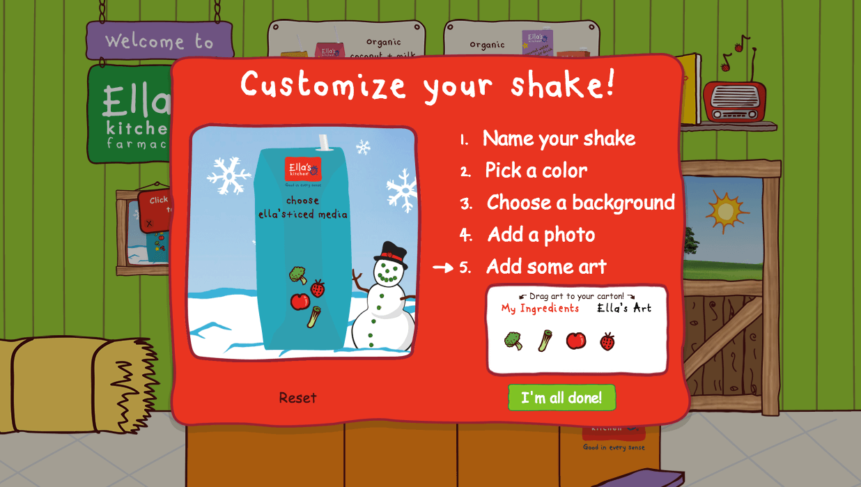 Image of the customize your shake page of the Ella's Kitchen farmacy microsite.