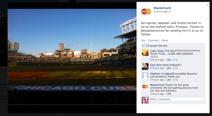 "Image of MasterCard Facebook post. It says ""Springtime, baseball, and history written in ivy on the outfield walls. Priceless. Thanks to @espealarconmu for sending this in to us on Twitter."""