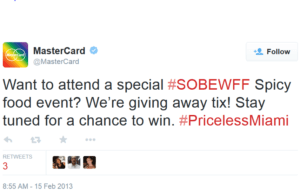 """Image of a tweet that says """"Want to attend a special #SOBEWFF Spicy food event? We're giving away tix! Stay tuned for a chance to win. #PricelessMiami"""""""