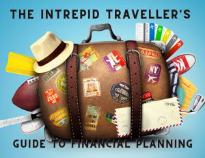 """Title slide from """"The Intrepid Traveller's Guide to Financial Planning"""". A talk given by Teresa """"Terri"""" Dickson. Image is an illustration of overstuffed suitcase with travel stickers, travel hat, and more coming out of it."""