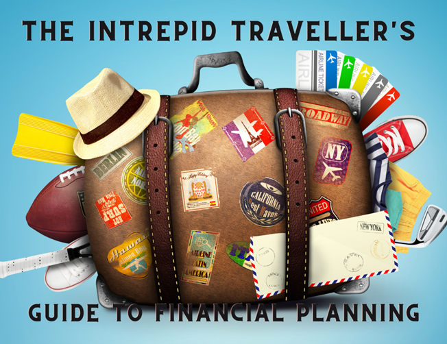"Title slide from ""The Intrepid Traveller's Guide to Financial Planning"". A talk given by Teresa ""Terri"" Dickson. Image is an illustration of overstuffed suitcase with travel stickers, travel hat, and more coming out of it."