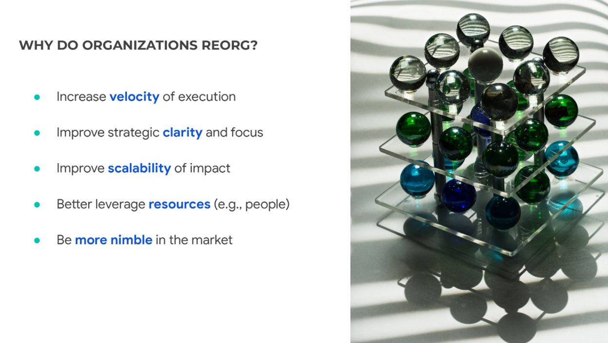 """Slide by Aji Oliyide. Slide states reasons """"Why do organizations reorg?"""". Reasons include """"increase velocity of execution, improve strategic clarity and focus, improve scalability of impact, better leverage resources (e.g., people), be more nimble in the market"""""""