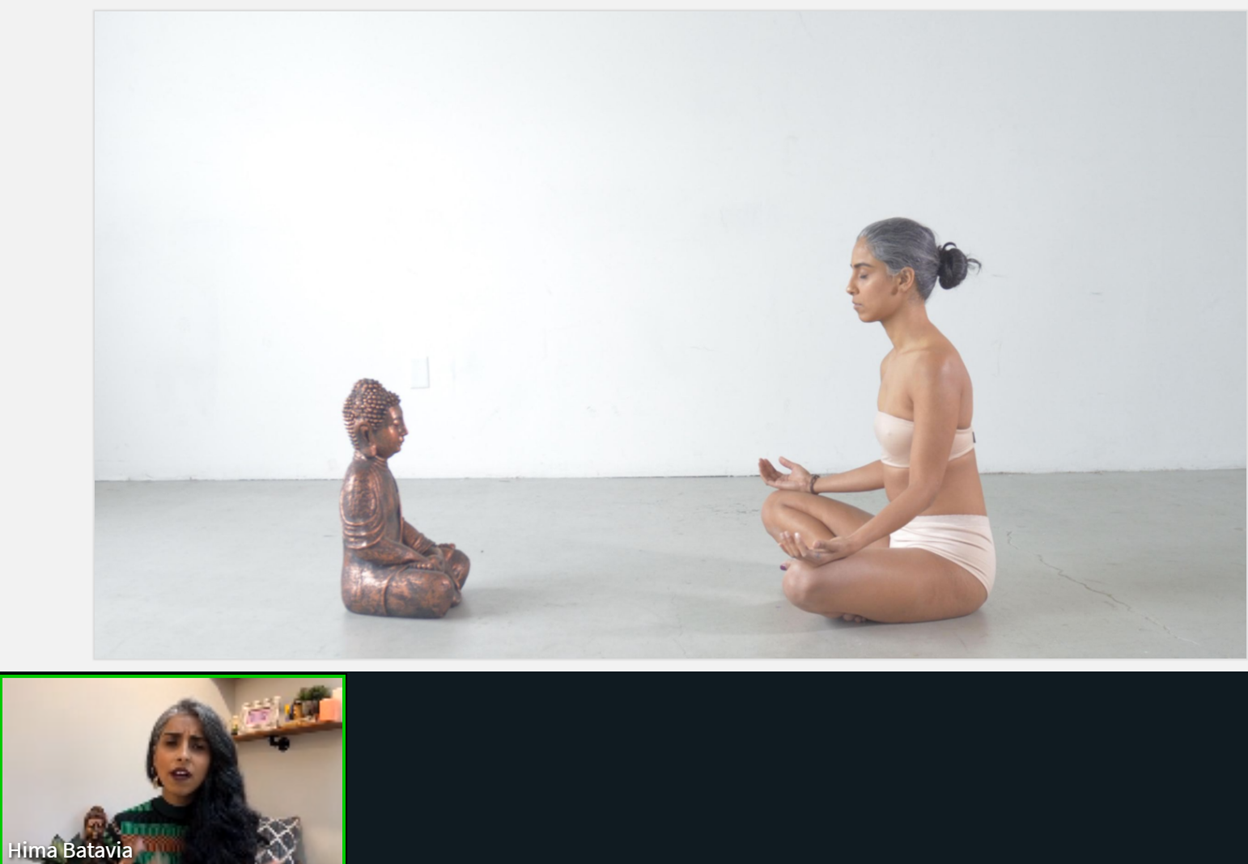 Screenshot from virtual presentation with Hima Batavia in lower left corner speaking. Screenshot includes photo of Hima Batavia sitting crossed legged meditating across from a buddha statue.