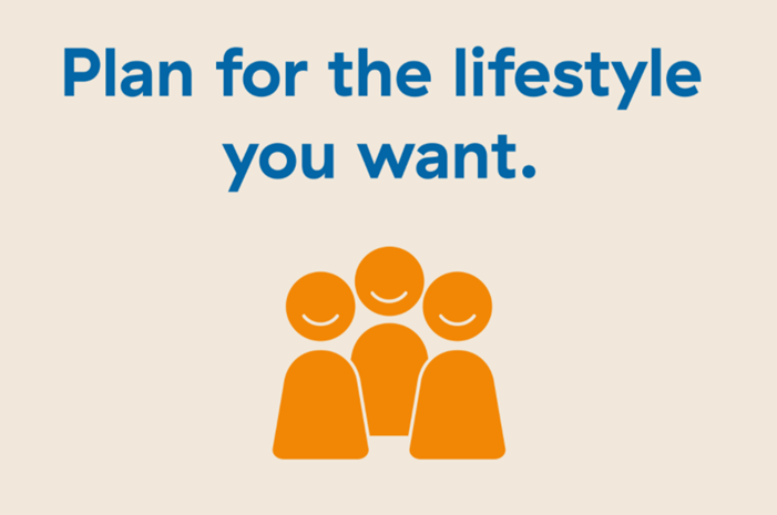 """Slide by Meghan Lazier that says """"Plan for the lifestyle you want."""""""