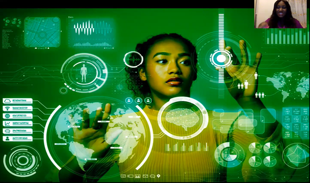Presentation slide. An image of a woman touching a digital touch screen device where she can move things around.