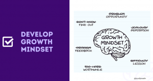 """Slide by Jessalin Lam. Slide says """"Develop growth mindset"""" on the left side. On the right side, there is an illustration with a brain representing """"growth mindset"""". Surrounding the brain are words including """"opportunity, find out, feedback, worthwhile, lesson, and admiration."""""""