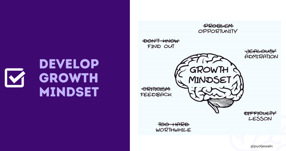 "Slide by Jessalin Lam. Slide says ""Develop growth mindset"" on the left side. On the right side, there is an illustration with a brain representing ""growth mindset"". Surrounding the brain are words including ""opportunity, find out, feedback, worthwhile, lesson, and admiration."""