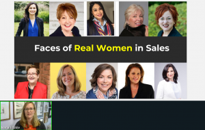 """Slide from talk by Maria Tribble. It shows 8 women with the words """"Faces of Real Women in Sales""""."""