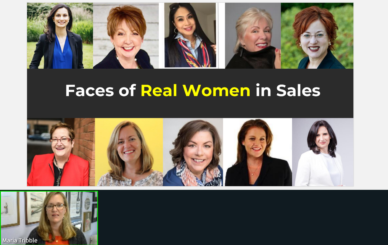 "Slide from talk by Maria Tribble. It shows 8 women with the words ""Faces of Real Women in Sales""."