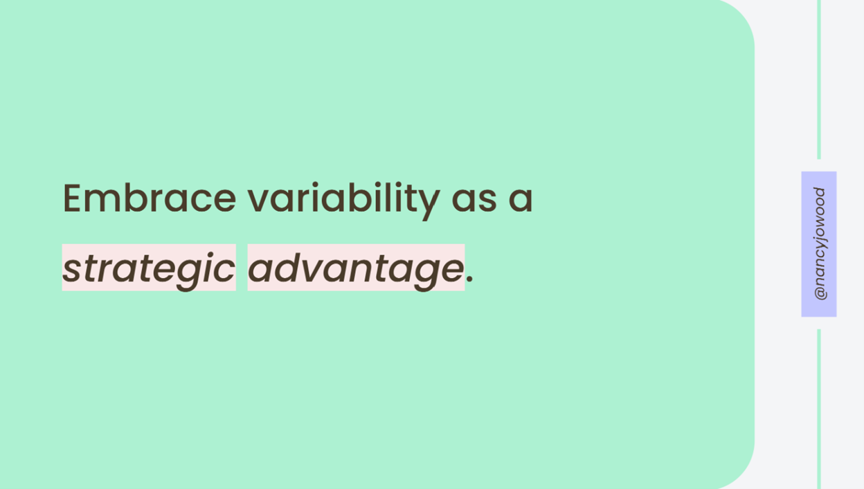 "Slide by Nancy Wood. It says ""Embrace variability as a strategic advantage."""