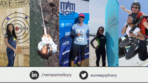 Four action shots of Nerissa Marbury from outdoor and adventure trips around the world.
