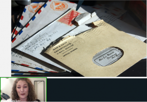 Screenshot from talk by Paige Recker. Image includes several pieces of personal mail and a thumbnail image of Paige at the lower far left corner.