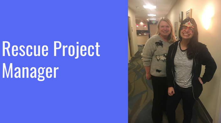 """""""Rescue Project Manager"""" slide by Star Dormanesh. Includes image of Star wearing wonder woman headdress with her arm around a female client."""
